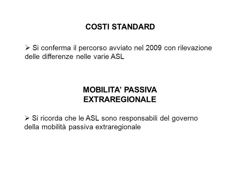 COSTI STANDARD Si conferma il percorso avviato nel 2009 con rilevazione delle differenze nelle varie ASL MOBILITA PASSIVA EXTRAREGIONALE Si ricorda che le ASL sono responsabili del governo della mobilità passiva extraregionale