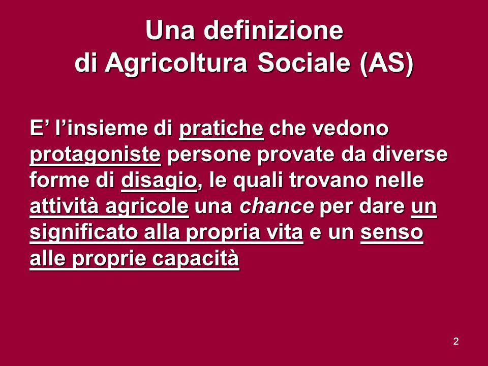 2 Una definizione di Agricoltura Sociale (AS) E linsieme di pratiche che vedono protagoniste persone provate da diverse forme di disagio, le quali trovano nelle attività agricole una chance per dare un significato alla propria vita e un senso alle proprie capacità