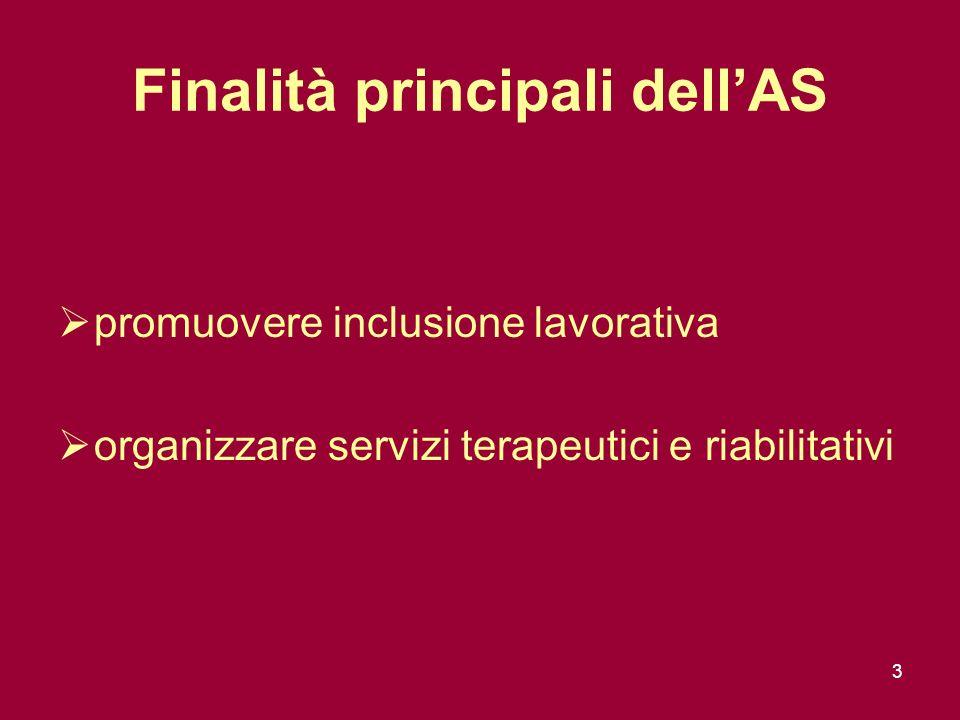 3 Finalità principali dellAS promuovere inclusione lavorativa organizzare servizi terapeutici e riabilitativi