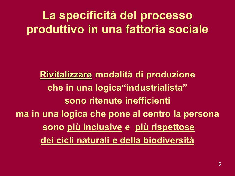 5 La specificità del processo produttivo in una fattoria sociale Rivitalizzare Rivitalizzare modalità di produzione che in una logicaindustrialista sono ritenute inefficienti ma in una logica che pone al centro la persona sono più inclusive e più rispettose dei cicli naturali e della biodiversità