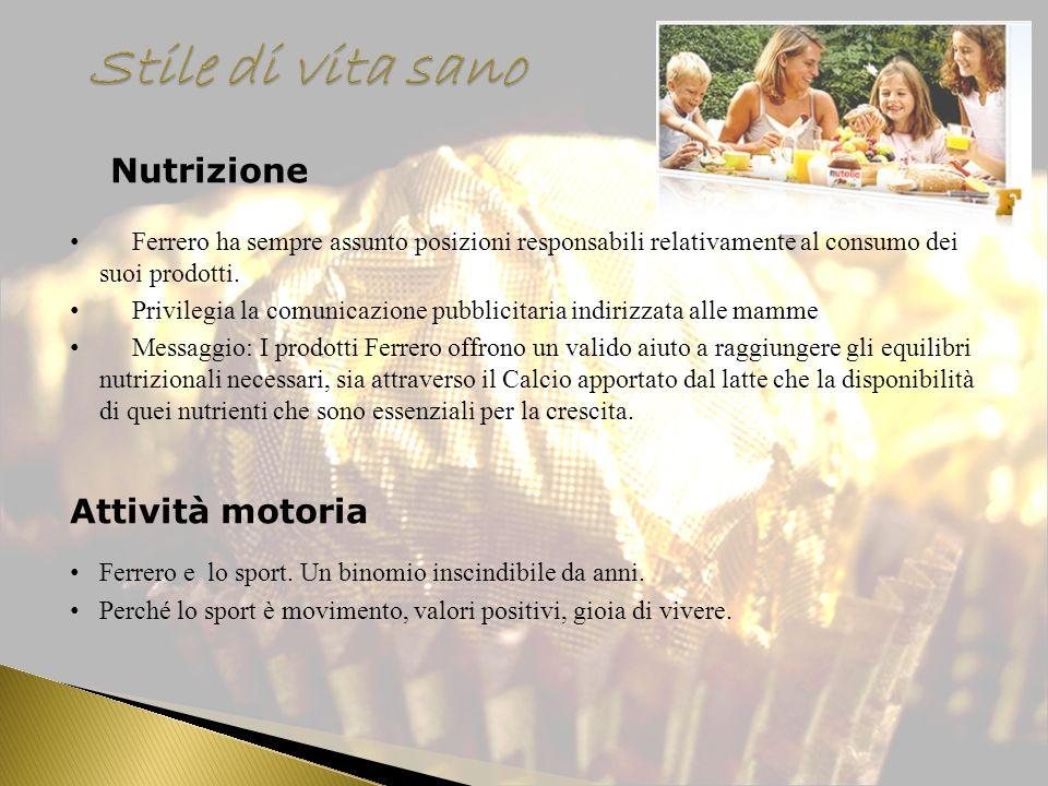 Nutrizione Ferrero ha sempre assunto posizioni responsabili relativamente al consumo dei suoi prodotti. Privilegia la comunicazione pubblicitaria indi
