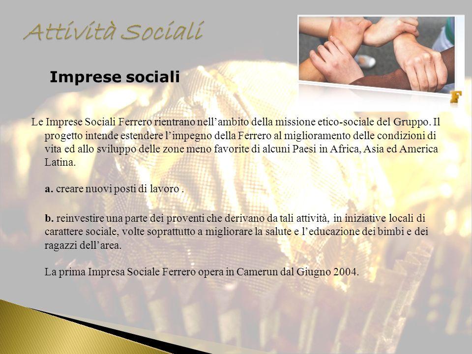 Imprese sociali Le Imprese Sociali Ferrero rientrano nellambito della missione etico-sociale del Gruppo. Il progetto intende estendere limpegno della
