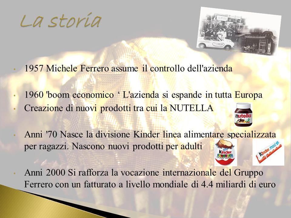 1957 Michele Ferrero assume il controllo dell'azienda 1960 'boom economico L'azienda si espande in tutta Europa Creazione di nuovi prodotti tra cui la