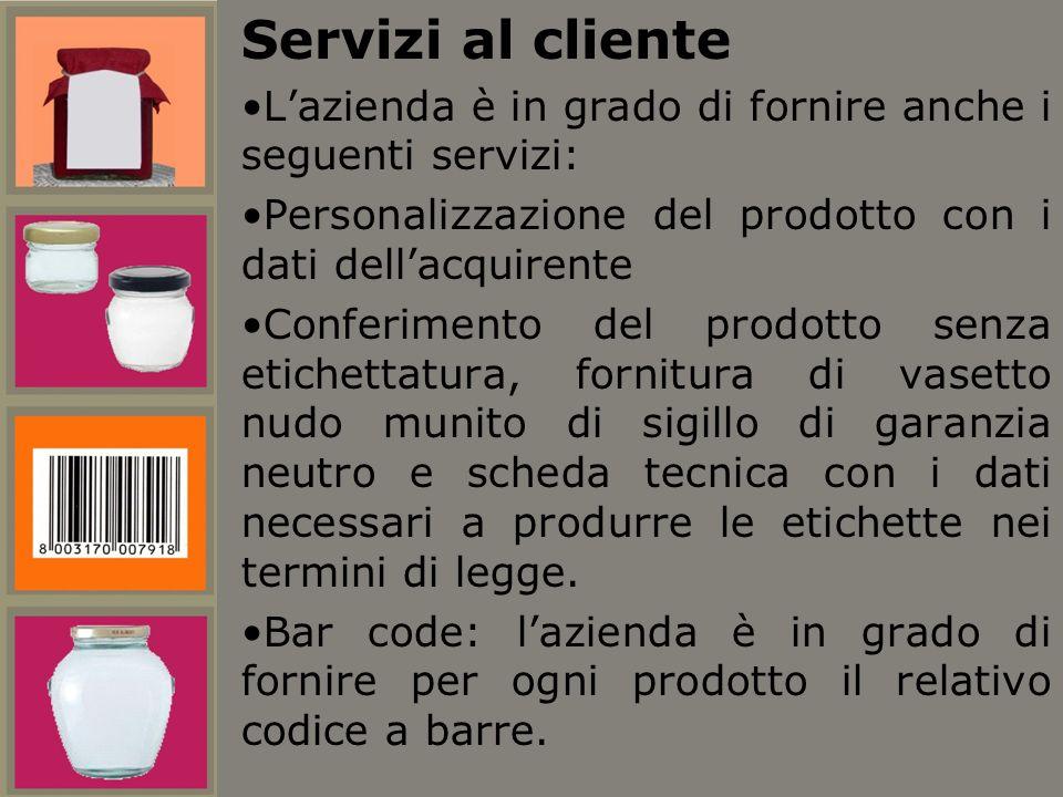 Servizi al cliente Lazienda è in grado di fornire anche i seguenti servizi: Personalizzazione del prodotto con i dati dellacquirente Conferimento del