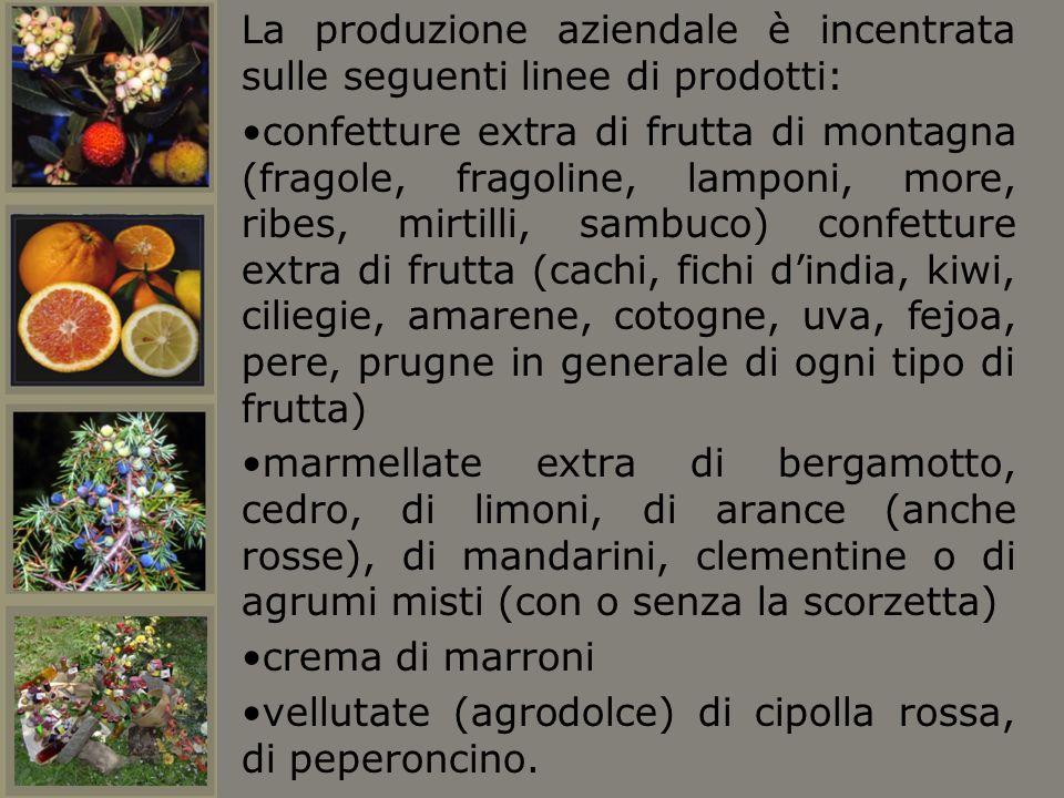 La produzione aziendale è incentrata sulle seguenti linee di prodotti: confetture extra di frutta di montagna (fragole, fragoline, lamponi, more, ribe