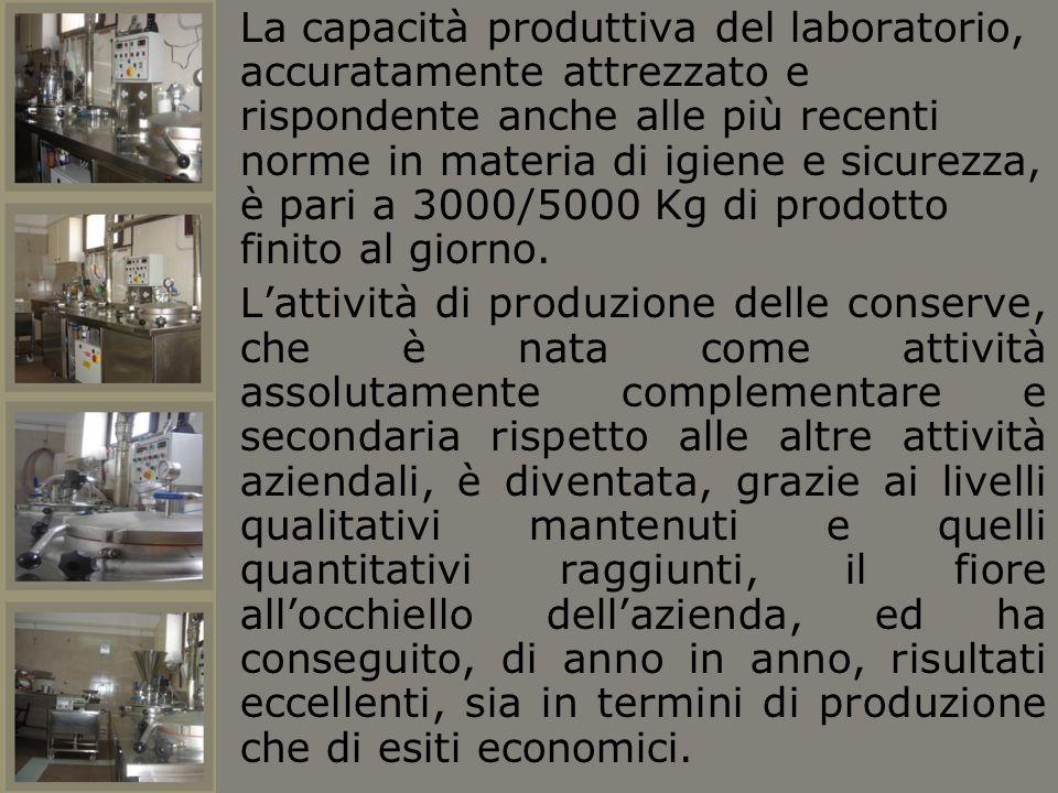 La capacità produttiva del laboratorio, accuratamente attrezzato e rispondente anche alle più recenti norme in materia di igiene e sicurezza, è pari a