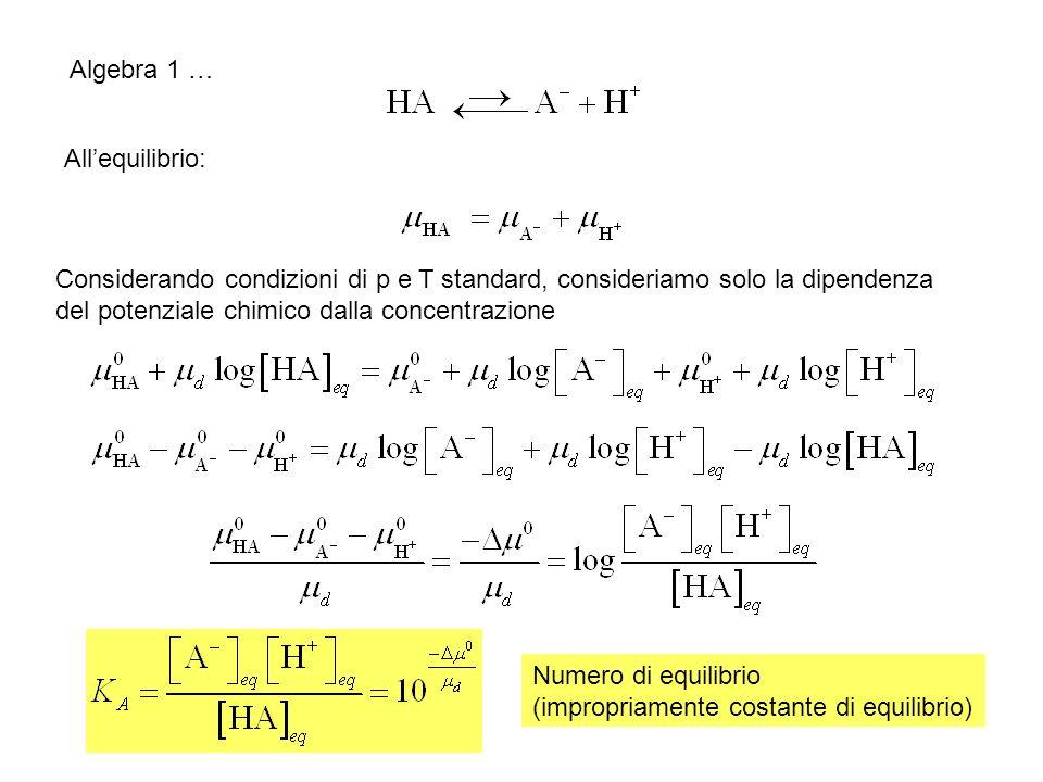 Algebra 1 … Allequilibrio: Considerando condizioni di p e T standard, consideriamo solo la dipendenza del potenziale chimico dalla concentrazione Nume