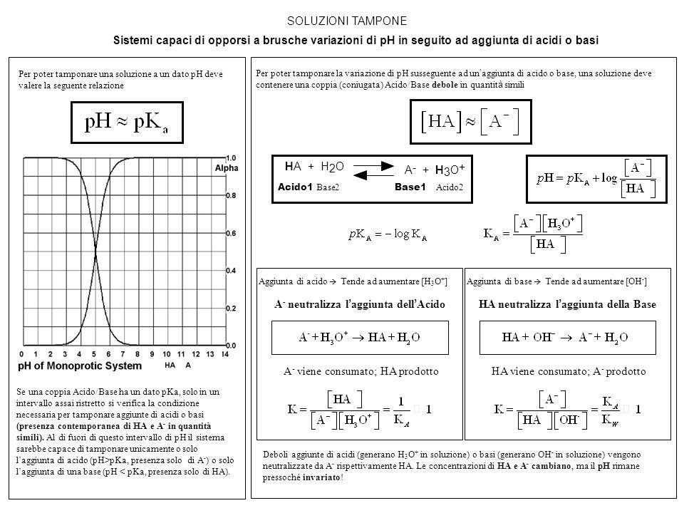 SOLUZIONI TAMPONE Sistemi capaci di opporsi a brusche variazioni di pH in seguito ad aggiunta di acidi o basi Per poter tamponare la variazione di pH