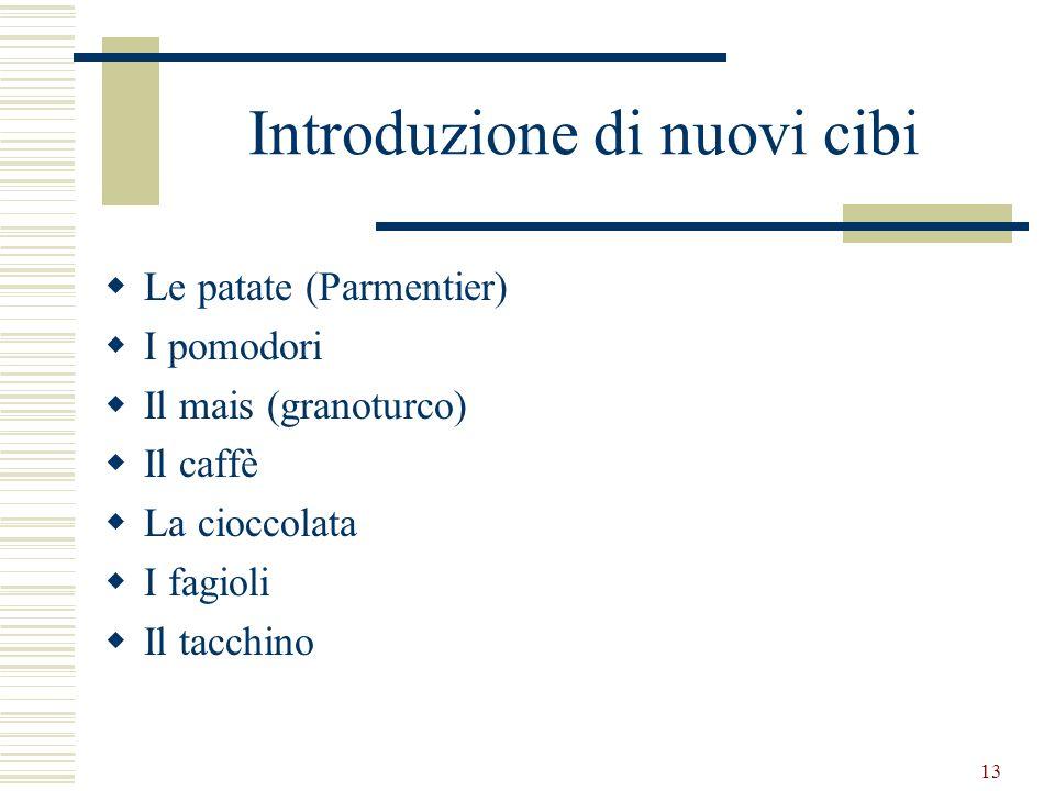 13 Introduzione di nuovi cibi Le patate (Parmentier) I pomodori Il mais (granoturco) Il caffè La cioccolata I fagioli Il tacchino