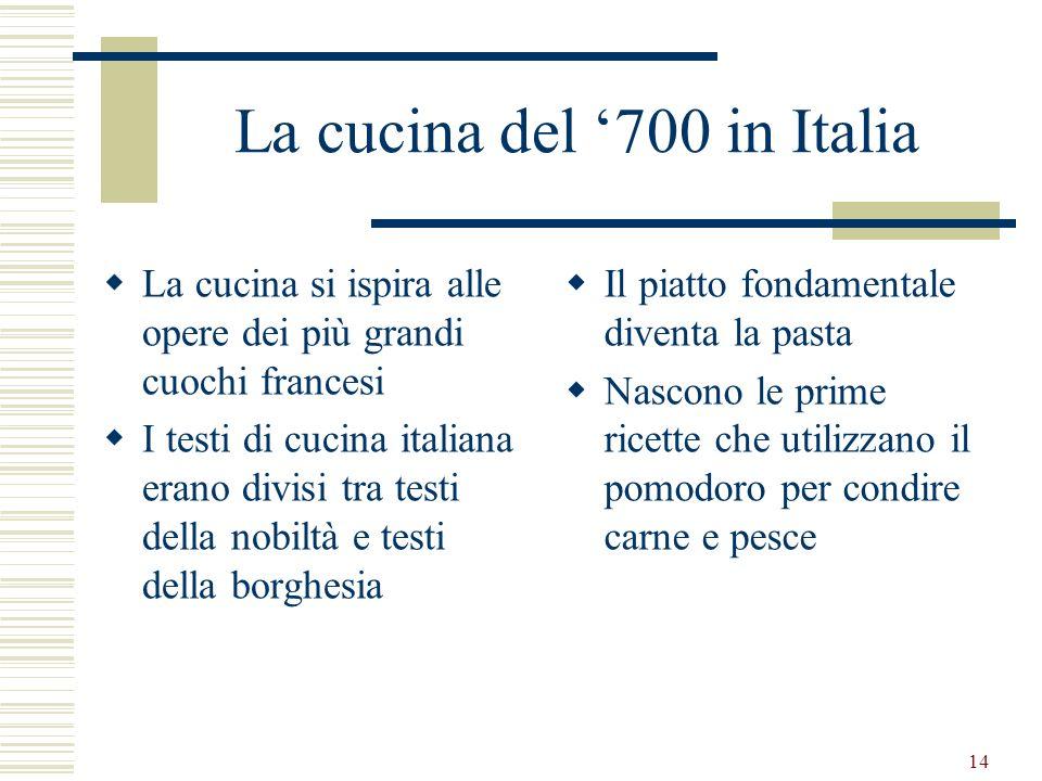 14 La cucina del 700 in Italia La cucina si ispira alle opere dei più grandi cuochi francesi I testi di cucina italiana erano divisi tra testi della n