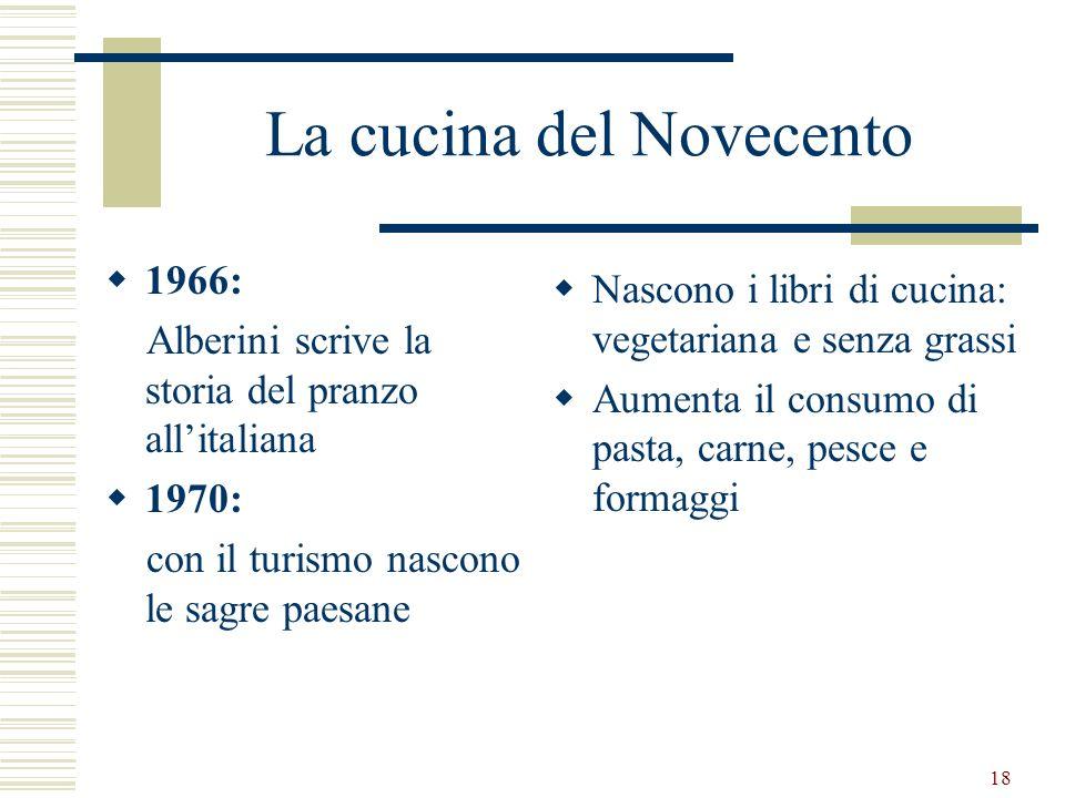 18 La cucina del Novecento 1966: Alberini scrive la storia del pranzo allitaliana 1970: con il turismo nascono le sagre paesane Nascono i libri di cuc