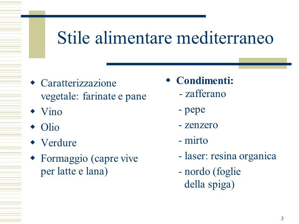 3 Stile alimentare mediterraneo Caratterizzazione vegetale: farinate e pane Vino Olio Verdure Formaggio (capre vive per latte e lana) Condimenti: - za