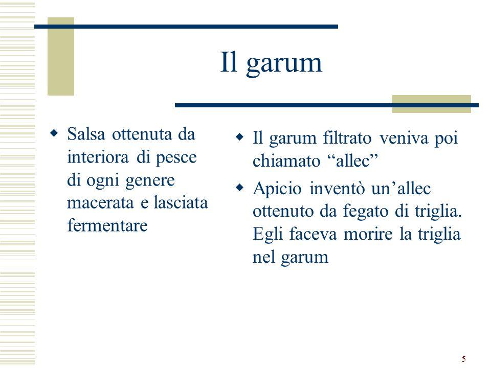5 Il garum Salsa ottenuta da interiora di pesce di ogni genere macerata e lasciata fermentare Il garum filtrato veniva poi chiamato allec Apicio inven