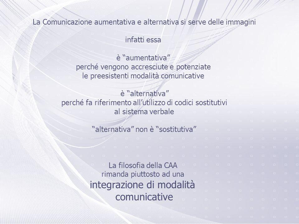 La Comunicazione aumentativa e alternativa si serve delle immagini infatti essa è aumentativa perché vengono accresciute e potenziate le preesistenti modalità comunicative è alternativa perché fa riferimento allutilizzo di codici sostitutivi al sistema verbale alternativa non è sostitutiva La filosofia della CAA rimanda piuttosto ad una integrazione di modalità comunicative