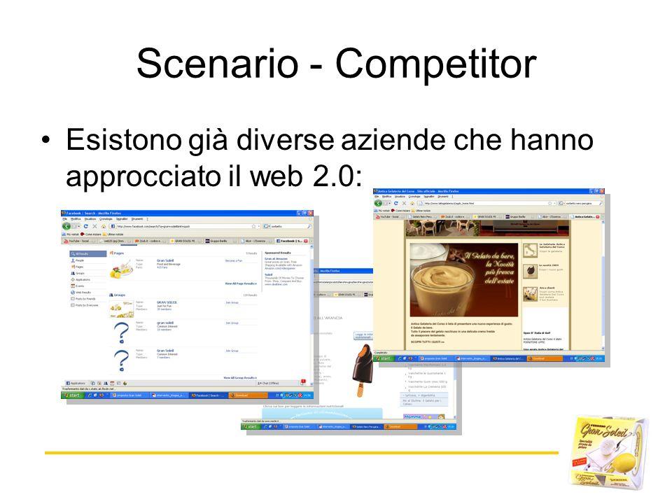 Scenario - Competitor Esistono già diverse aziende che hanno approcciato il web 2.0: