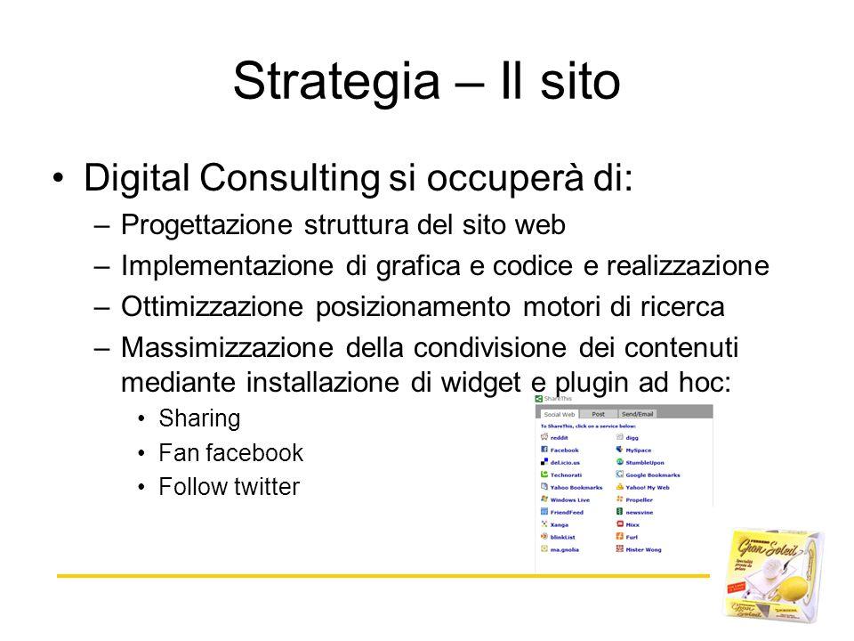 Strategia – Il sito Digital Consulting si occuperà di: –Progettazione struttura del sito web –Implementazione di grafica e codice e realizzazione –Ott