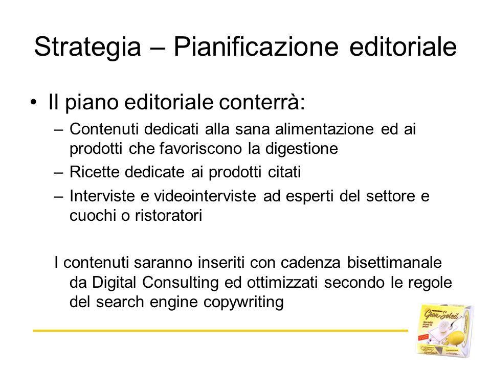 Strategia – Pianificazione editoriale Il piano editoriale conterrà: –Contenuti dedicati alla sana alimentazione ed ai prodotti che favoriscono la dige