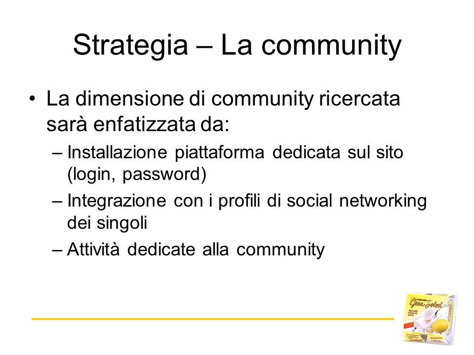 Strategia – La community La dimensione di community ricercata sarà enfatizzata da: –Installazione piattaforma dedicata sul sito (login, password) –Int