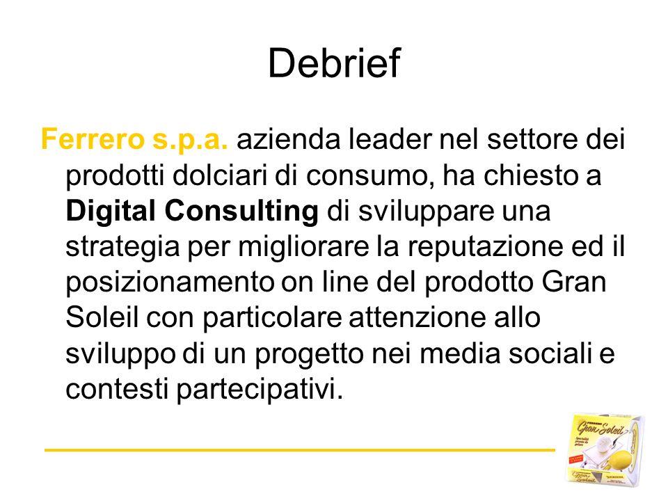 Ferrero s.p.a. azienda leader nel settore dei prodotti dolciari di consumo, ha chiesto a Digital Consulting di sviluppare una strategia per migliorare