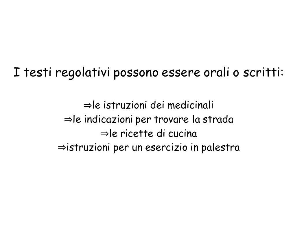 I testi regolativi possono essere orali o scritti: le istruzioni dei medicinali le indicazioni per trovare la strada le ricette di cucina istruzioni p