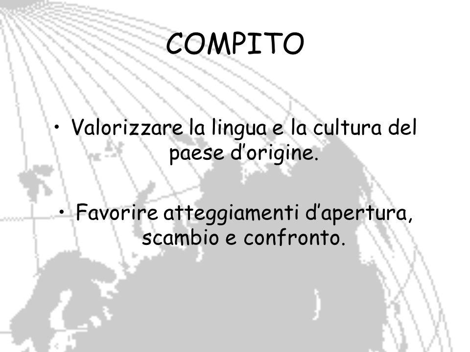 COMPITO Valorizzare la lingua e la cultura del paese dorigine. Favorire atteggiamenti dapertura, scambio e confronto.