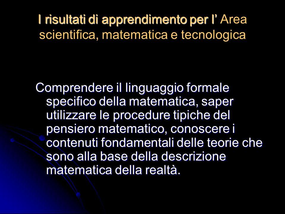 I risultati di apprendimento per l I risultati di apprendimento per l Area scientifica, matematica e tecnologica Comprendere il linguaggio formale specifico della matematica, saper utilizzare le procedure tipiche del pensiero matematico, conoscere i contenuti fondamentali delle teorie che sono alla base della descrizione matematica della realtà.