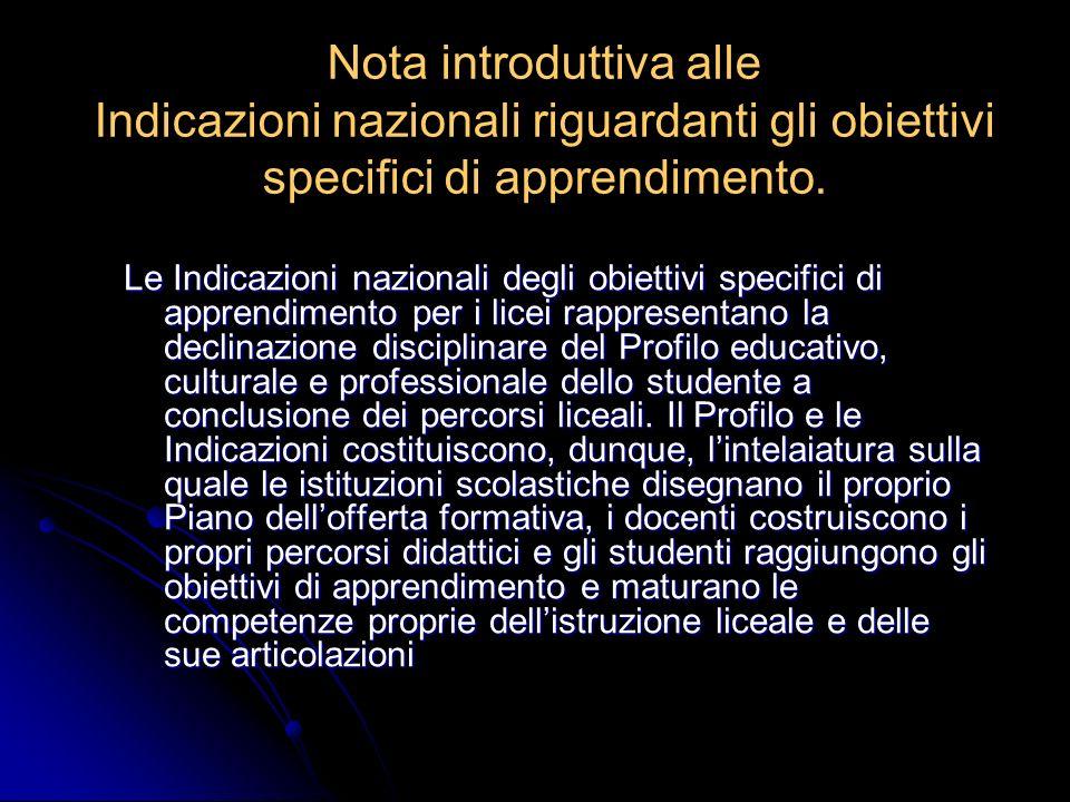 Nota introduttiva alle Indicazioni nazionali riguardanti gli obiettivi specifici di apprendimento.