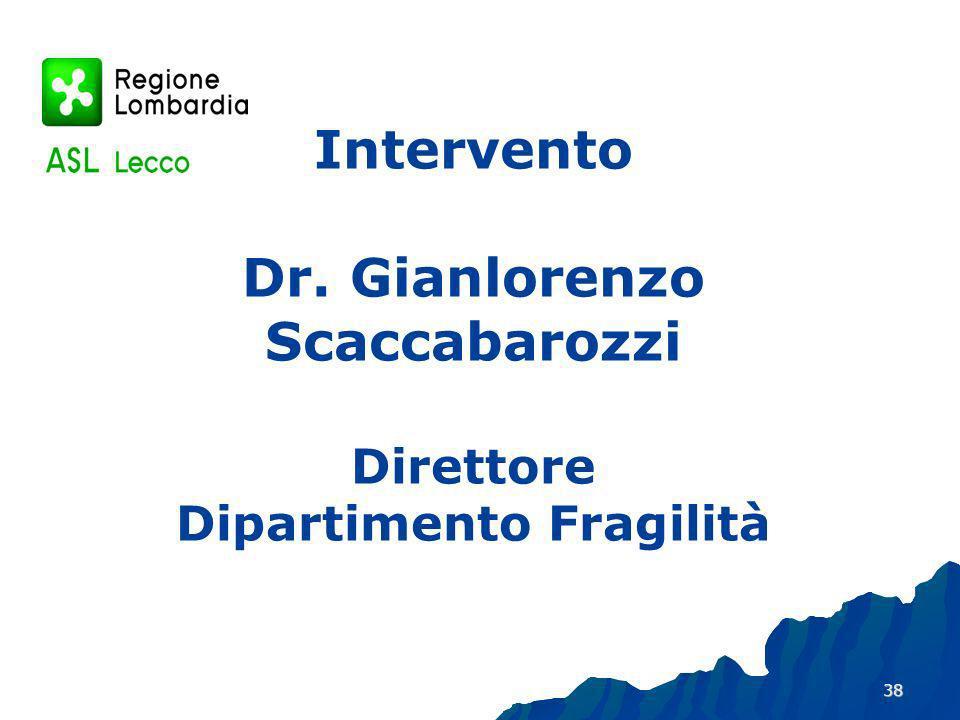 38 Intervento Dr. Gianlorenzo Scaccabarozzi Direttore Dipartimento Fragilità