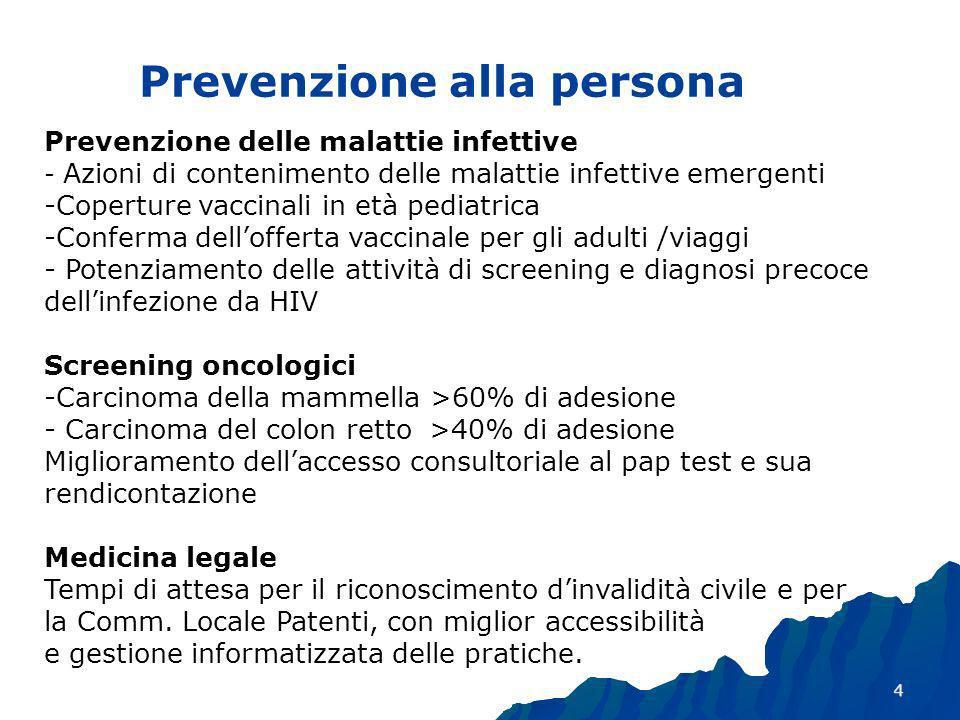 4 Prevenzione alla persona Prevenzione delle malattie infettive - Azioni di contenimento delle malattie infettive emergenti -Coperture vaccinali in età pediatrica -Conferma dellofferta vaccinale per gli adulti /viaggi - Potenziamento delle attività di screening e diagnosi precoce dellinfezione da HIV Screening oncologici -Carcinoma della mammella >60% di adesione - Carcinoma del colon retto >40% di adesione Miglioramento dellaccesso consultoriale al pap test e sua rendicontazione Medicina legale Tempi di attesa per il riconoscimento dinvalidità civile e per la Comm.