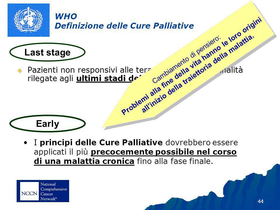 44 WHO Definizione delle Cure Palliative Pazienti non responsivi alle terapie curative con finalità rilegate agli ultimi stadi della cura.