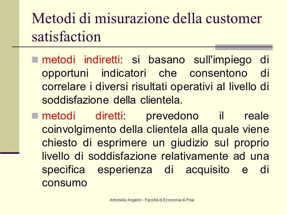 Antonella Angelini - Facoltà di Economia di Pisa Metodi di misurazione della customer satisfaction metodi indiretti: si basano sull'impiego di opportu