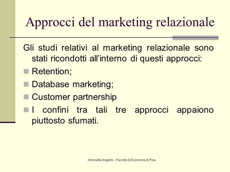 Antonella Angelini - Facoltà di Economia di Pisa Approcci del marketing relazionale Gli studi relativi al marketing relazionale sono stati ricondotti