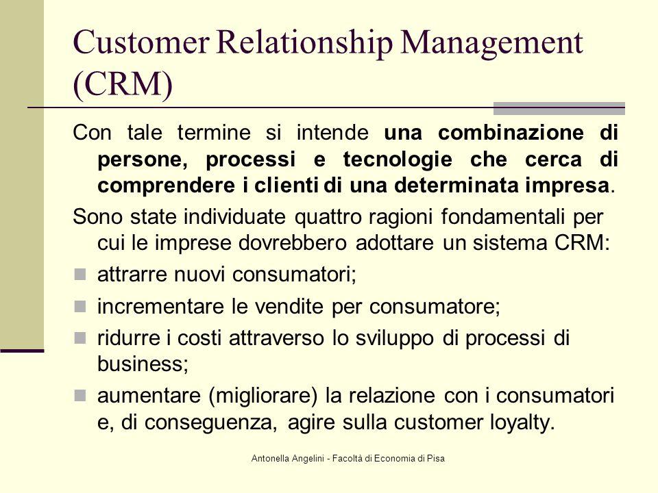 Antonella Angelini - Facoltà di Economia di Pisa Customer Relationship Management (CRM) Con tale termine si intende una combinazione di persone, proce