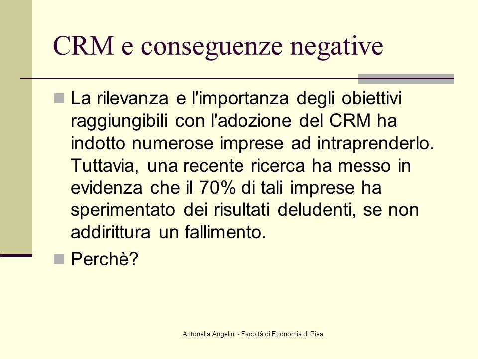 Antonella Angelini - Facoltà di Economia di Pisa CRM e conseguenze negative La rilevanza e l'importanza degli obiettivi raggiungibili con l'adozione d