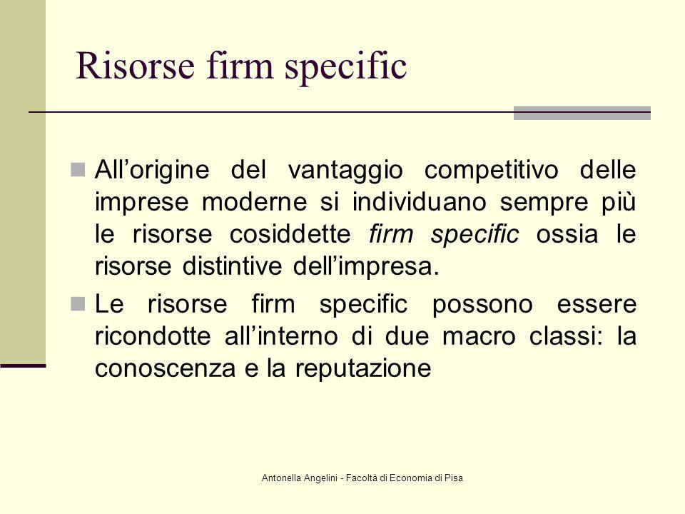 Antonella Angelini - Facoltà di Economia di Pisa Risorse firm specific Allorigine del vantaggio competitivo delle imprese moderne si individuano sempr