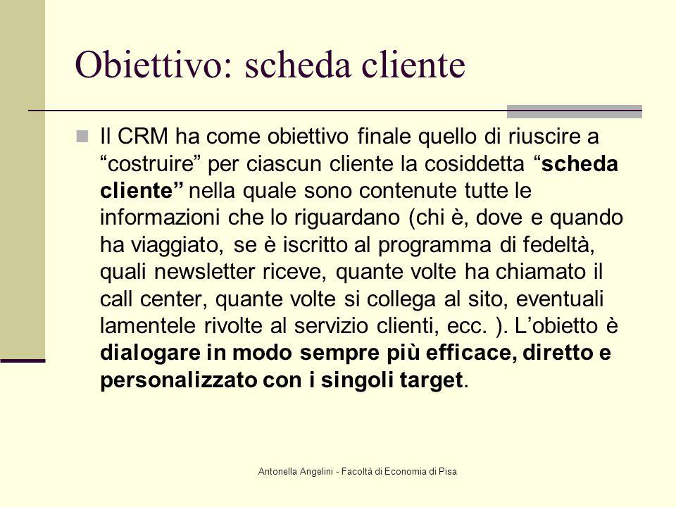 Antonella Angelini - Facoltà di Economia di Pisa Obiettivo: scheda cliente Il CRM ha come obiettivo finale quello di riuscire a costruire per ciascun