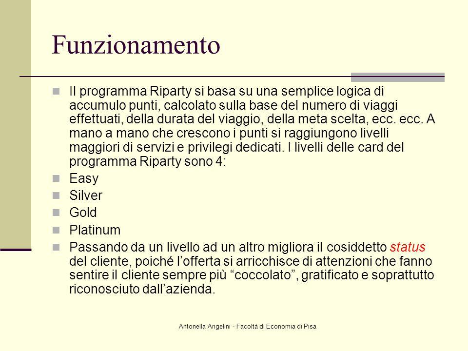 Antonella Angelini - Facoltà di Economia di Pisa Funzionamento Il programma Riparty si basa su una semplice logica di accumulo punti, calcolato sulla