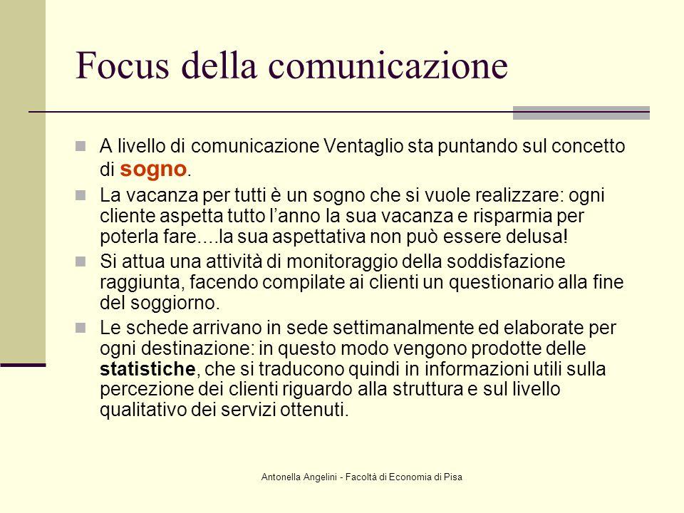 Antonella Angelini - Facoltà di Economia di Pisa Focus della comunicazione A livello di comunicazione Ventaglio sta puntando sul concetto di sogno. La