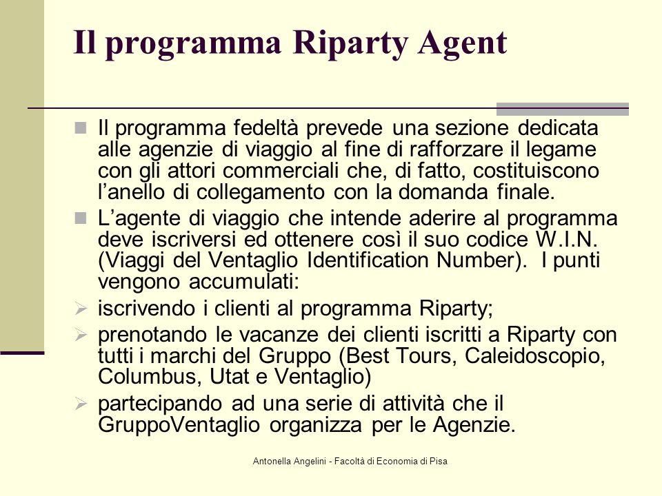 Antonella Angelini - Facoltà di Economia di Pisa Il programma Riparty Agent Il programma fedeltà prevede una sezione dedicata alle agenzie di viaggio
