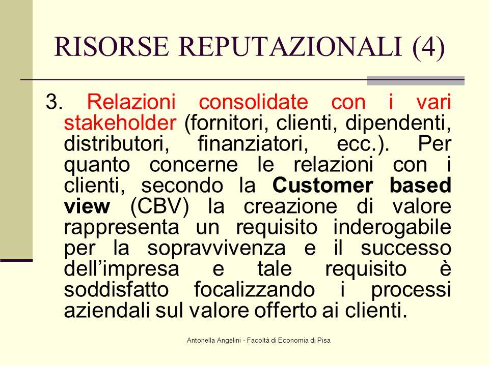 Antonella Angelini - Facoltà di Economia di Pisa 3. Relazioni consolidate con i vari stakeholder (fornitori, clienti, dipendenti, distributori, finanz