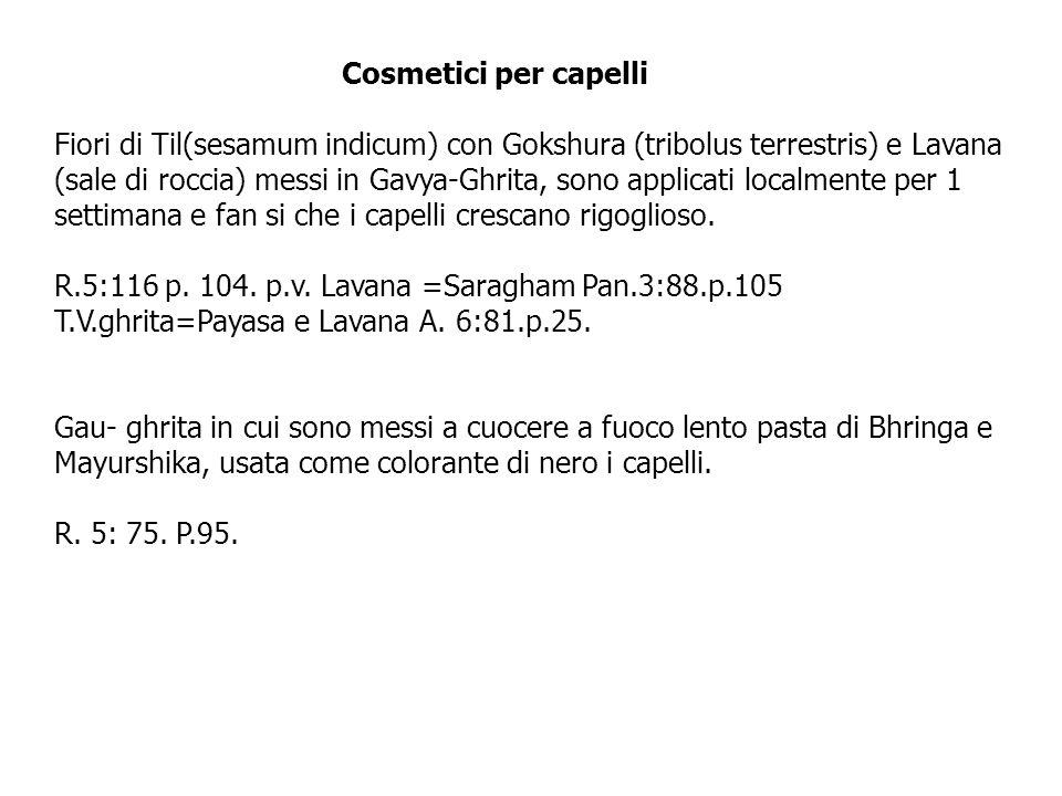 Cosmetici per capelli Fiori di Til(sesamum indicum) con Gokshura (tribolus terrestris) e Lavana (sale di roccia) messi in Gavya-Ghrita, sono applicati