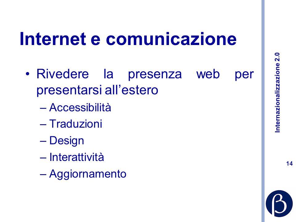 Internazionalizzazione 2.0 13 Internet e distribuzione Internet per selezionare partner allestero Migliorare i rapporti con i distributori Decisioni di e-commerce