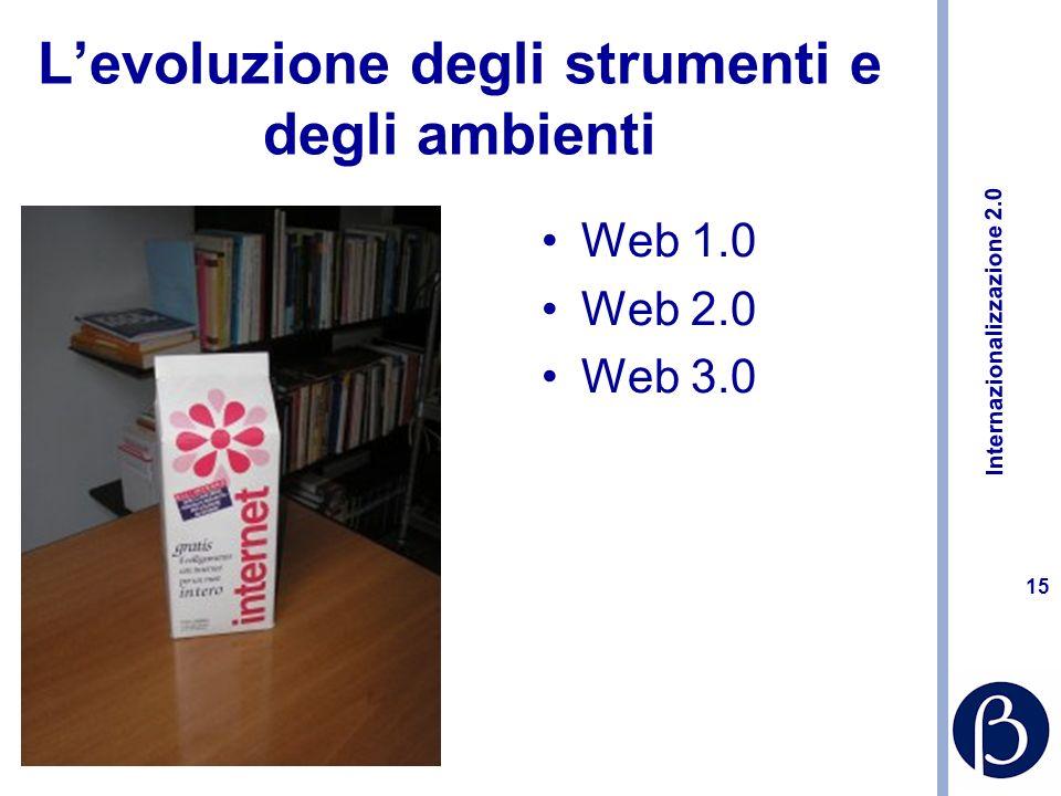 Internazionalizzazione 2.0 14 Internet e comunicazione Rivedere la presenza web per presentarsi allestero –Accessibilità –Traduzioni –Design –Interattività –Aggiornamento