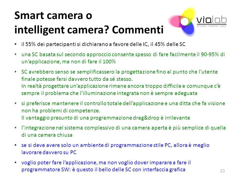 Smart camera o intelligent camera? Commenti il 55% dei partecipanti si dichiarano a favore delle IC, il 45% delle SC una SC basata sul secondo approcc