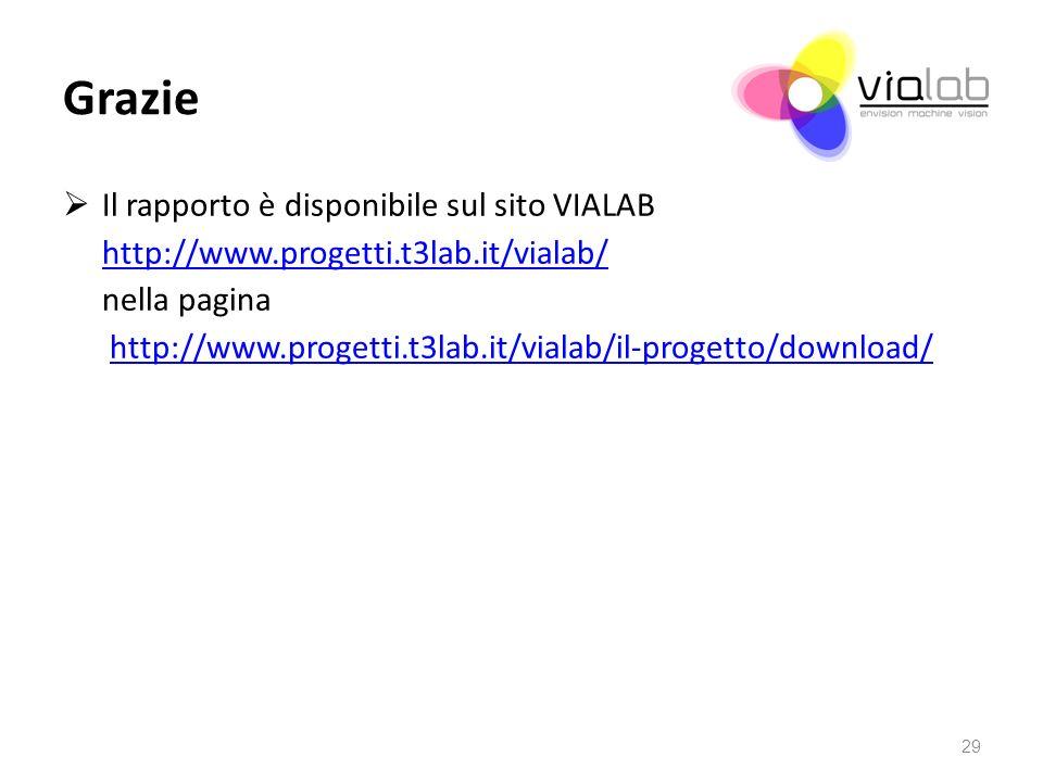 Grazie Il rapporto è disponibile sul sito VIALAB http://www.progetti.t3lab.it/vialab/ nella pagina http://www.progetti.t3lab.it/vialab/il-progetto/download/ 29