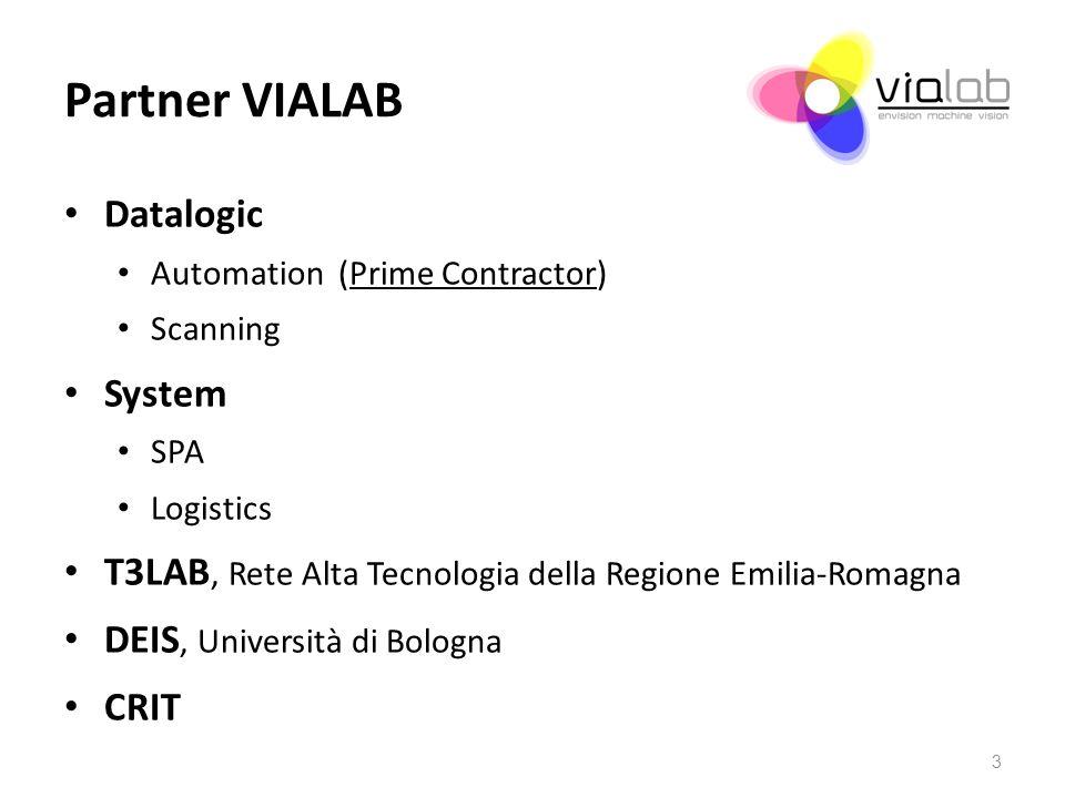 Partner VIALAB Datalogic Automation (Prime Contractor) Scanning System SPA Logistics T3LAB, Rete Alta Tecnologia della Regione Emilia-Romagna DEIS, Un