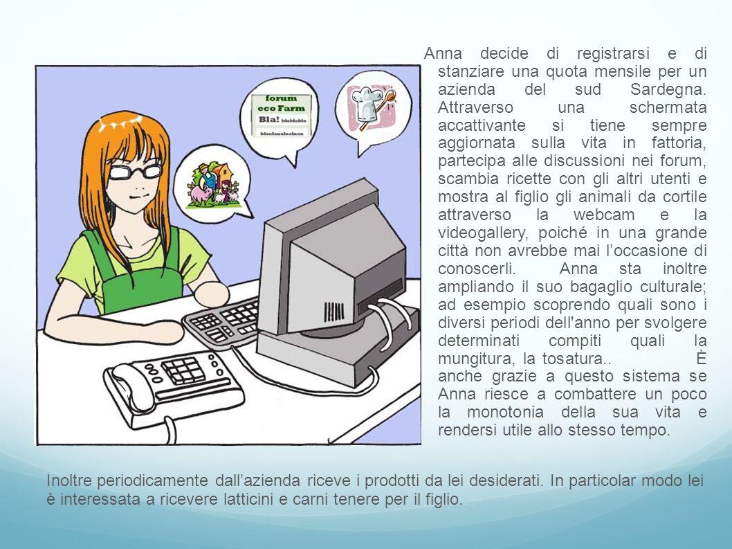 Anna decide di registrarsi e di stanziare una quota mensile per un azienda del sud Sardegna. Attraverso una schermata accattivante si tiene sempre agg