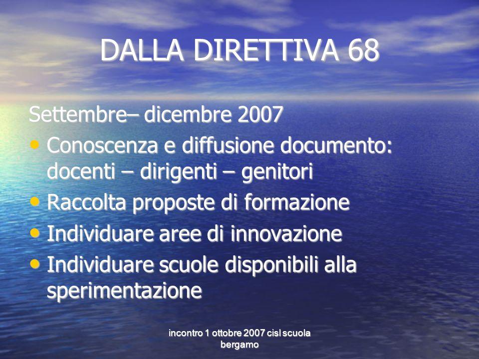 incontro 1 ottobre 2007 cisl scuola bergamo DALLA DIRETTIVA 68 Settembre– dicembre 2007 Conoscenza e diffusione documento: docenti – dirigenti – genit