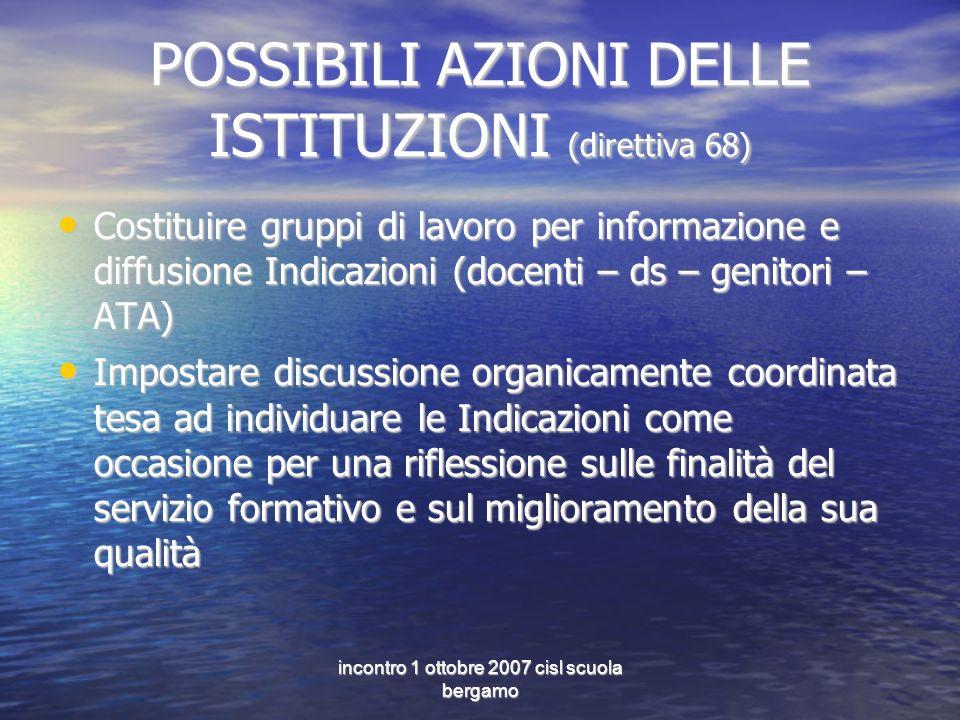 incontro 1 ottobre 2007 cisl scuola bergamo POSSIBILI AZIONI DELLE ISTITUZIONI (direttiva 68) Costituire gruppi di lavoro per informazione e diffusion