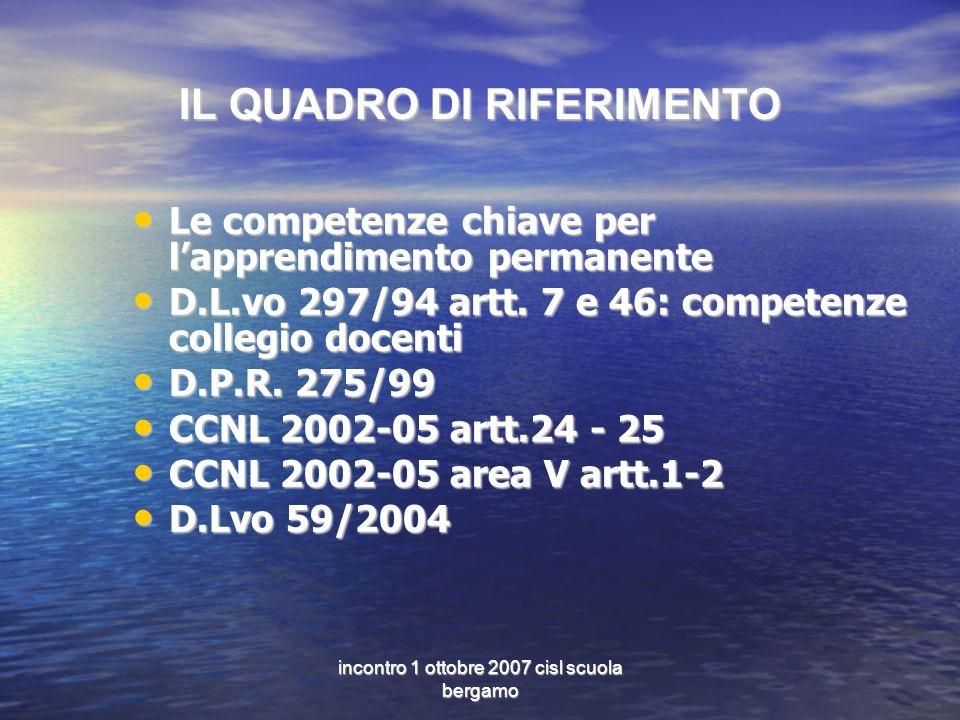 incontro 1 ottobre 2007 cisl scuola bergamo IL QUADRO DI RIFERIMENTO Le competenze chiave per lapprendimento permanente Le competenze chiave per lapprendimento permanente D.L.vo 297/94 artt.